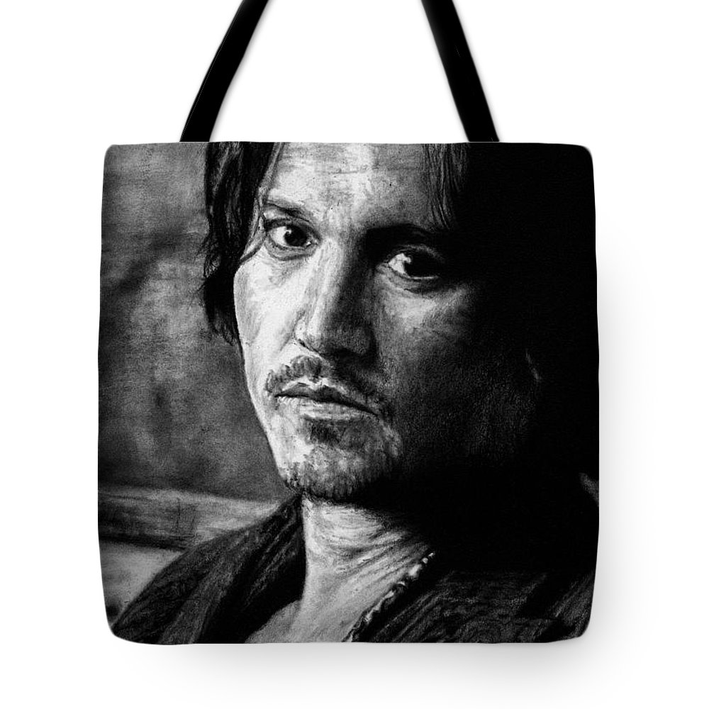 Johnny Depp Man Pirate Actor Hollywood Bullshit Public Blow Sexy Beautiful Hot Chocolate Portrait Feeling Tote Bag featuring the drawing How Does It Feel by Priscilla Vogelbacher