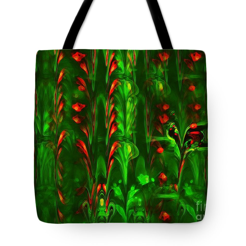 Abstract Tote Bag featuring the painting How Does Your Garden Grow by RC DeWinter