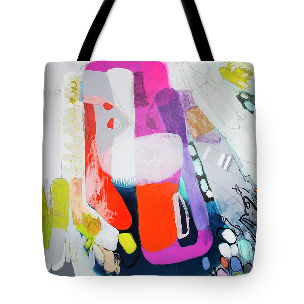 Abstract Tote Bag featuring the painting How Many Fingers? by Claire Desjardins