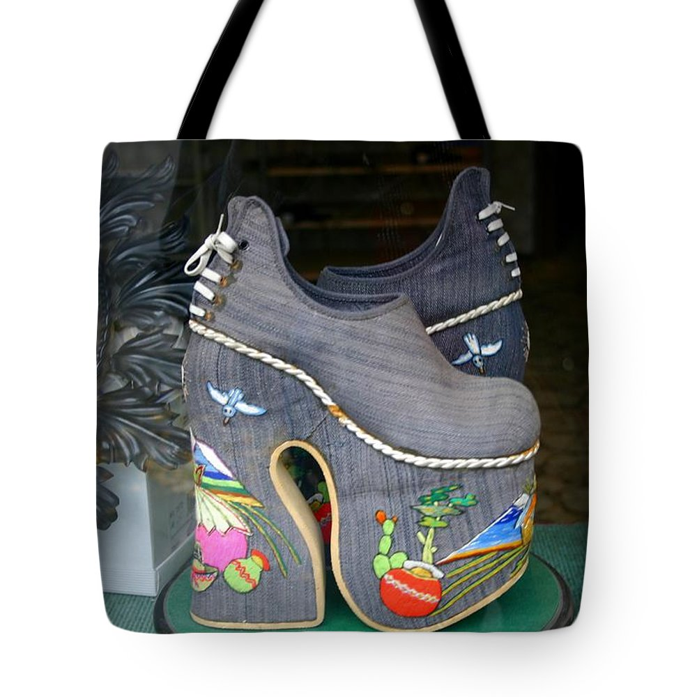 Shoes Tote Bag featuring the photograph How Much Are Those Shoes In The Window by Minaz Jantz