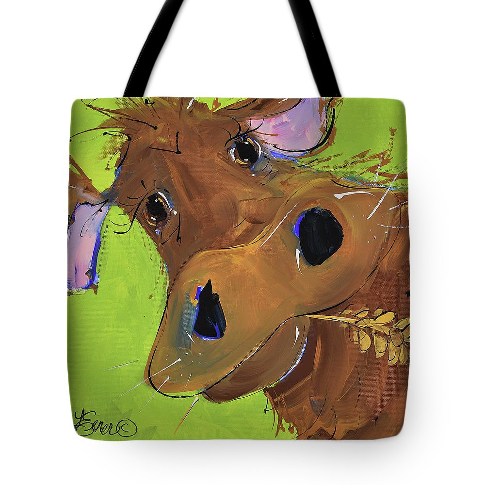 Cow Tote Bag featuring the painting How Now Brown Cow by Terri Einer