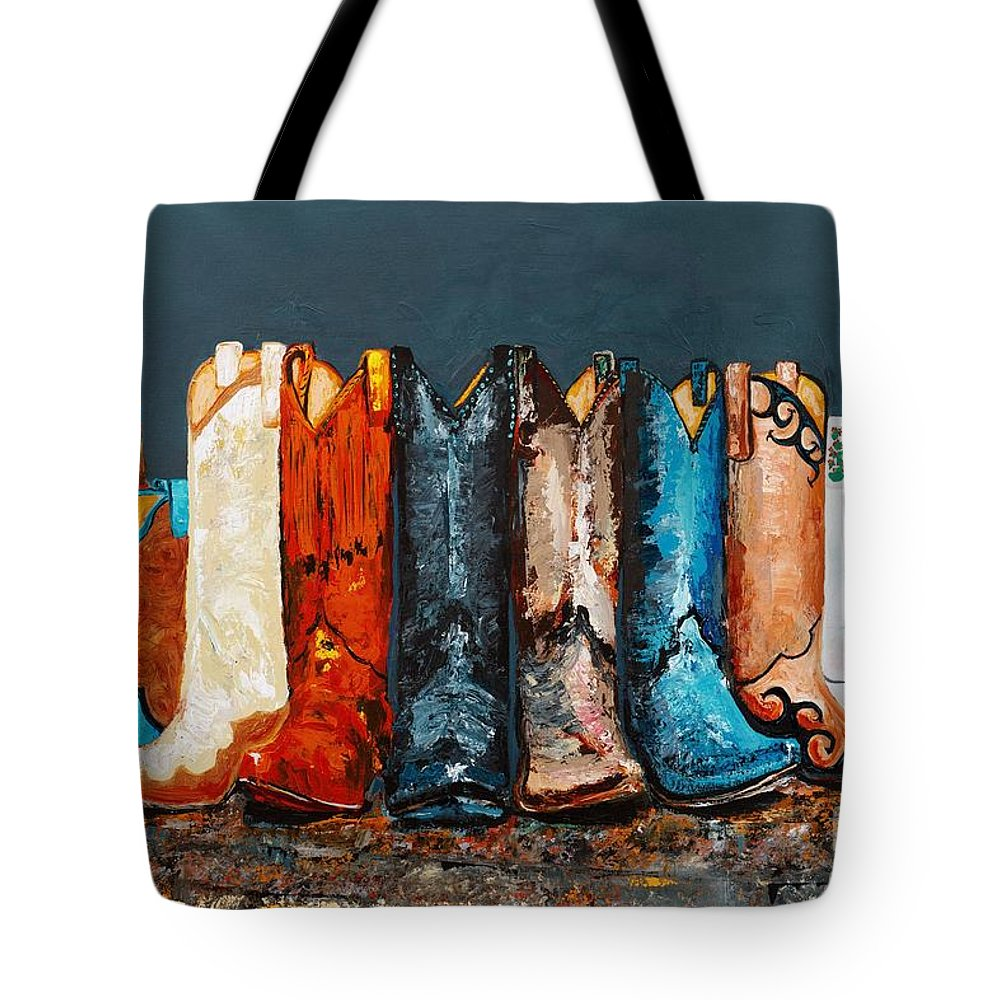 Cowboy Boots Tote Bag featuring the painting How The West Was Really Won by Frances Marino
