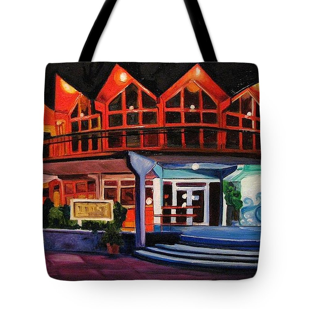 Asbury Art Tote Bag featuring the painting Howard Johnsons at Night by Patricia Arroyo