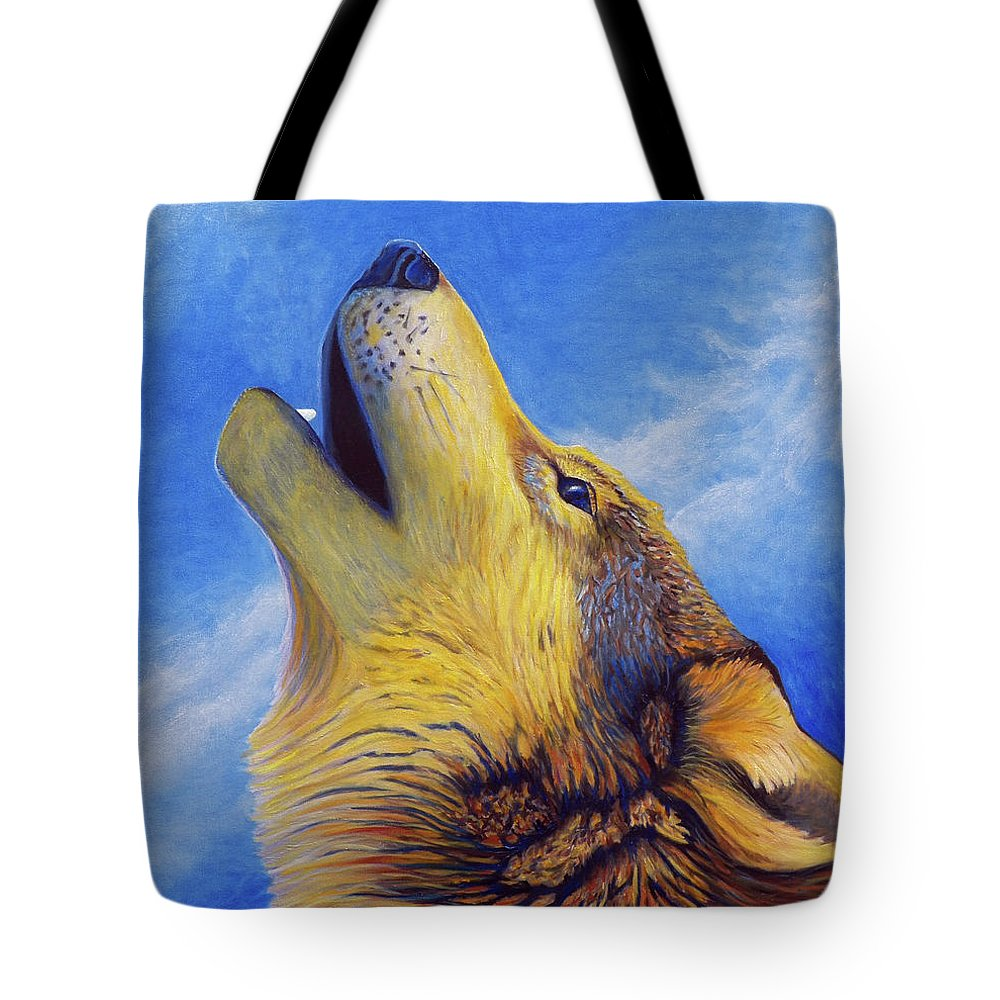 Wolf Tote Bag featuring the painting Howl by Brian Commerford