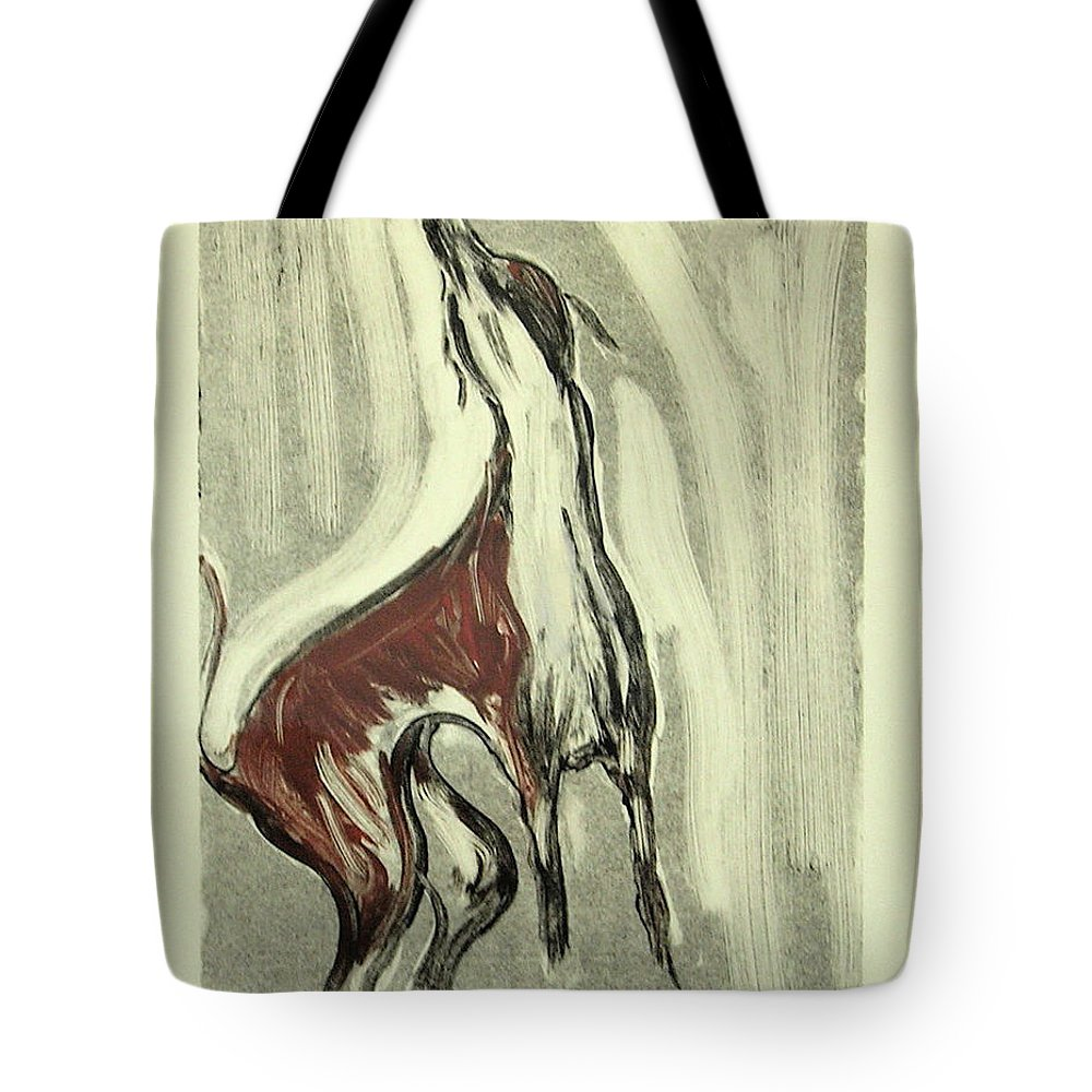 Monotype Tote Bag featuring the mixed media Howling For Joy by Cori Solomon