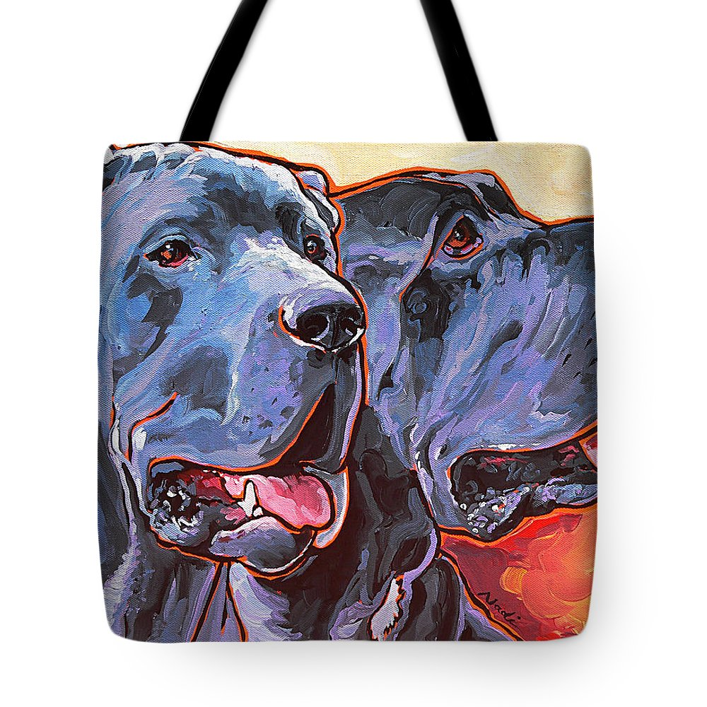 Great Dane Tote Bag featuring the painting Howy And Iloy by Nadi Spencer