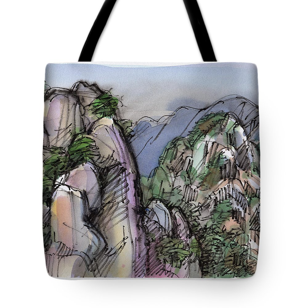 Landscape Tote Bag featuring the painting Huangshan, China by Judith Kunzle