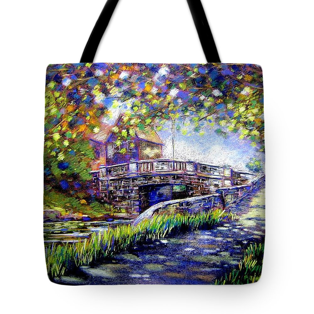 Pastel Tote Bag featuring the pastel Huband Bridge Dublin City by John Nolan