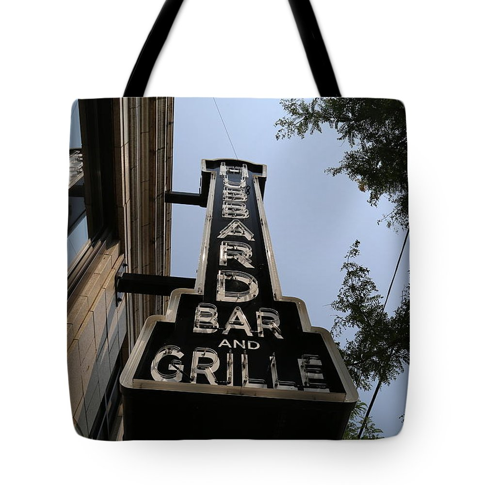 Bar Tote Bag featuring the photograph Hubbard Bar And Grille Sign by Jeff Roney