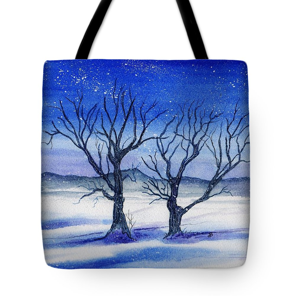 Watercolor Tote Bag featuring the painting Huddled On A Snowy Field. by Brenda Owen