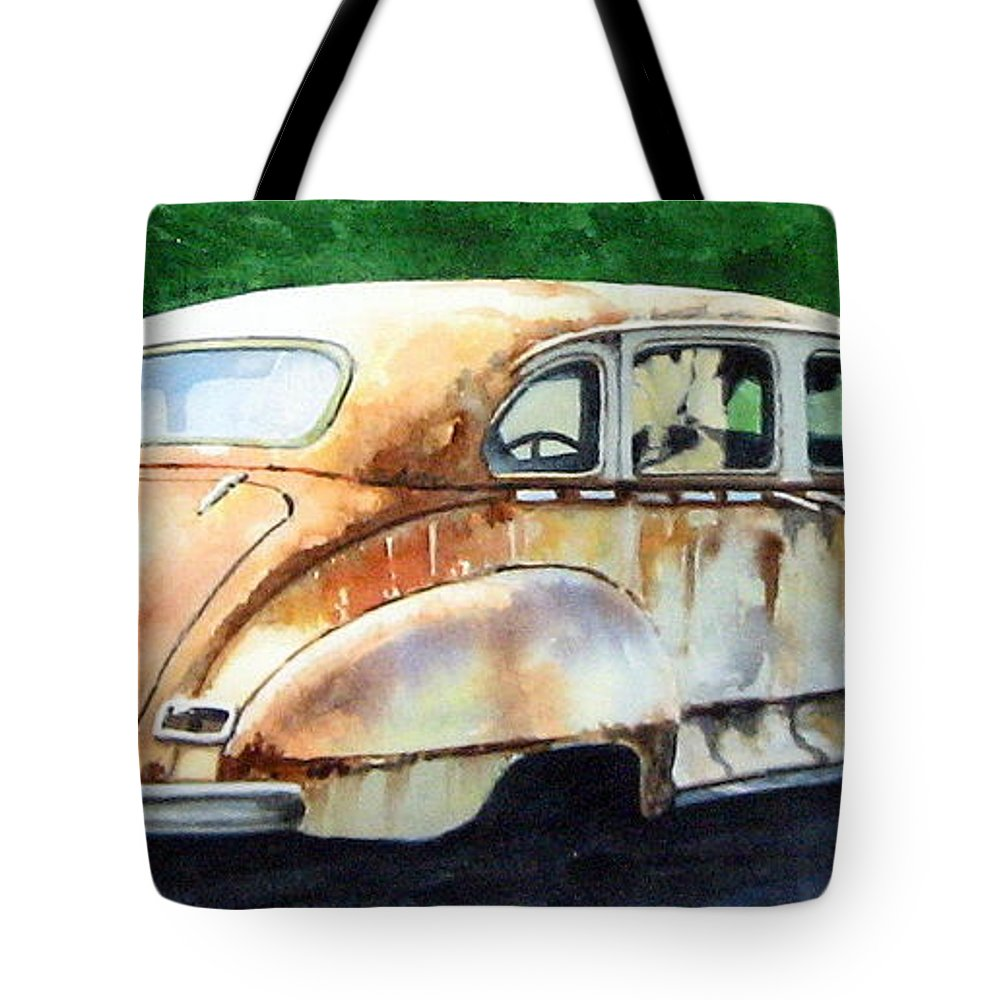 Hudson Car Rust Restore Tote Bag featuring the painting Hudson Waiting For A New Start by Ron Morrison