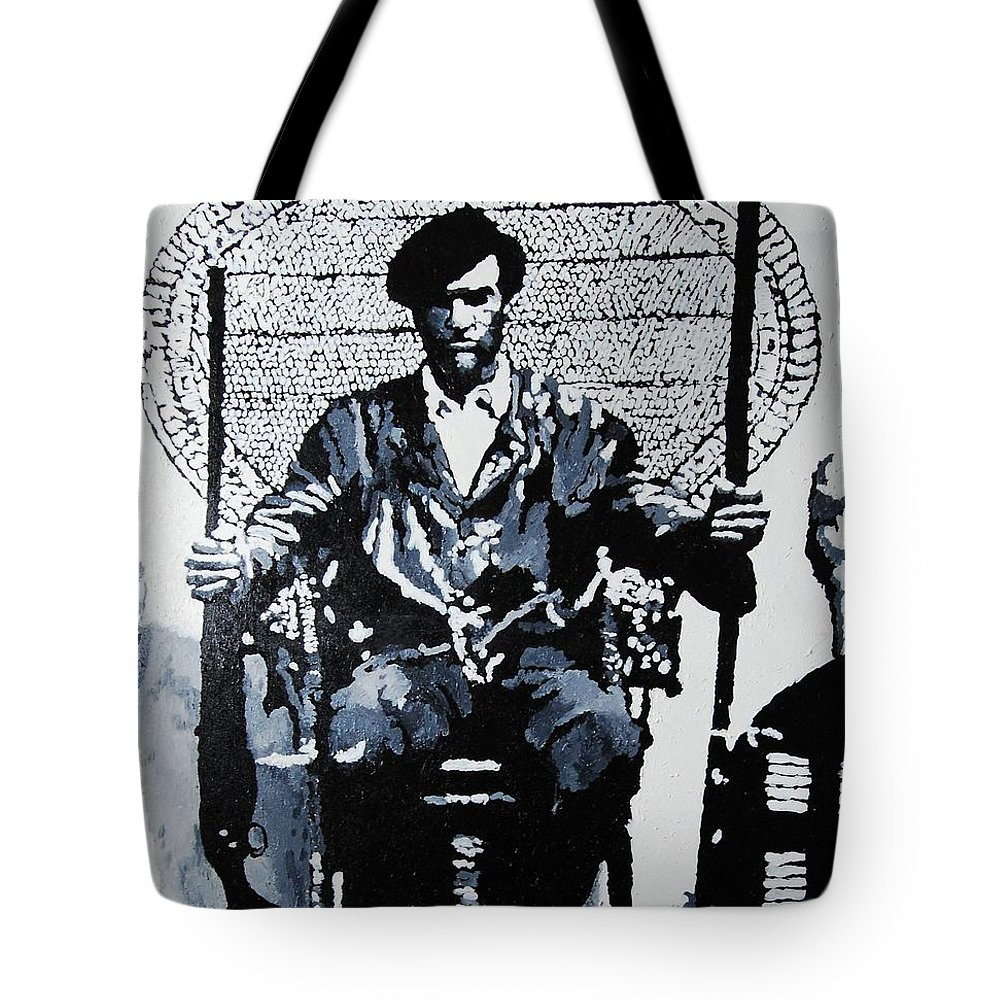 Black Panther Tote Bag featuring the painting Huey Newton Minister Of Defense Black Panther Party by Lauren Luna
