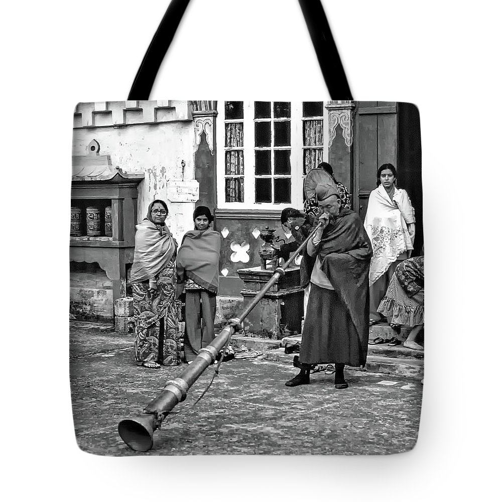 Ghoom Monastery Tote Bag featuring the photograph Huff And Puff Bw by Steve Harrington