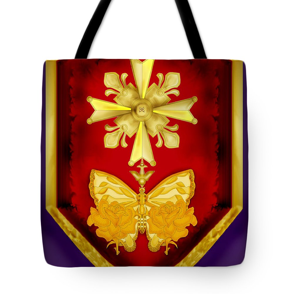 Cross Tote Bag featuring the painting Huguenot Cross And Shield by Anne Norskog