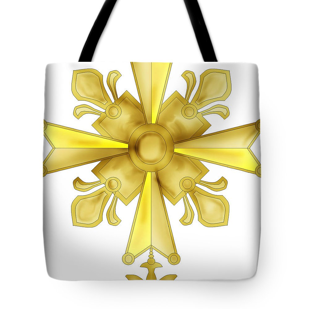 Christian Cross Tote Bag featuring the painting Huguenot Golden Cross by Anne Norskog