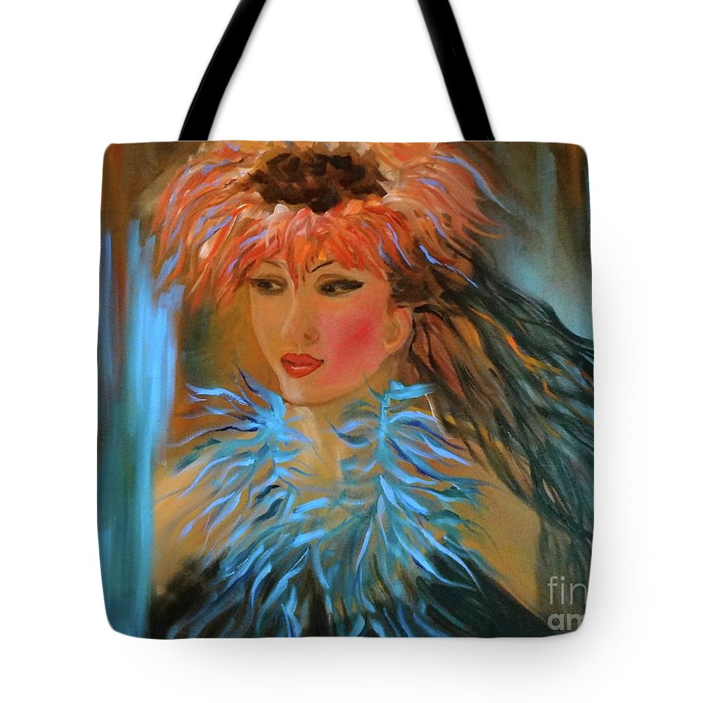 Hula Tote Bag featuring the painting Hula In Turquoise by Jenny Lee