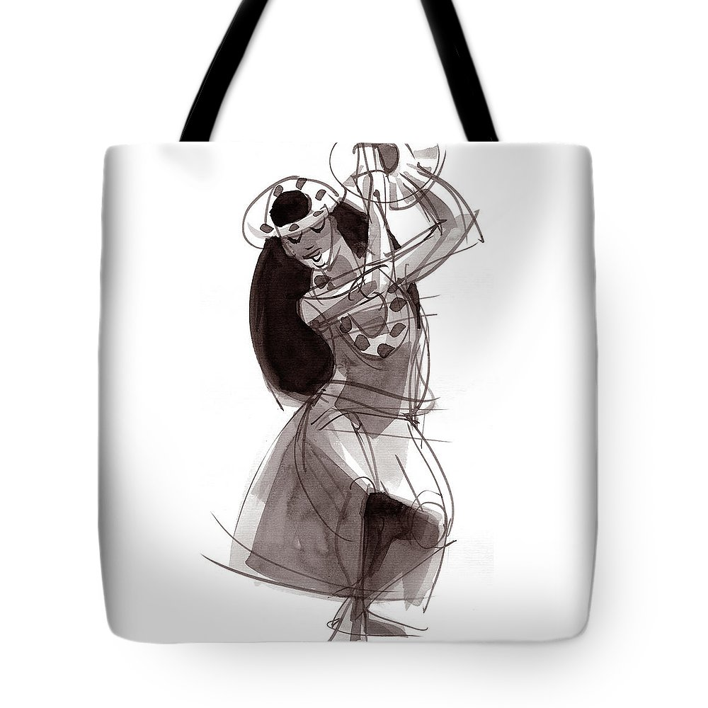 Hula Tote Bag featuring the painting Hula Dancer Alika by Judith Kunzle