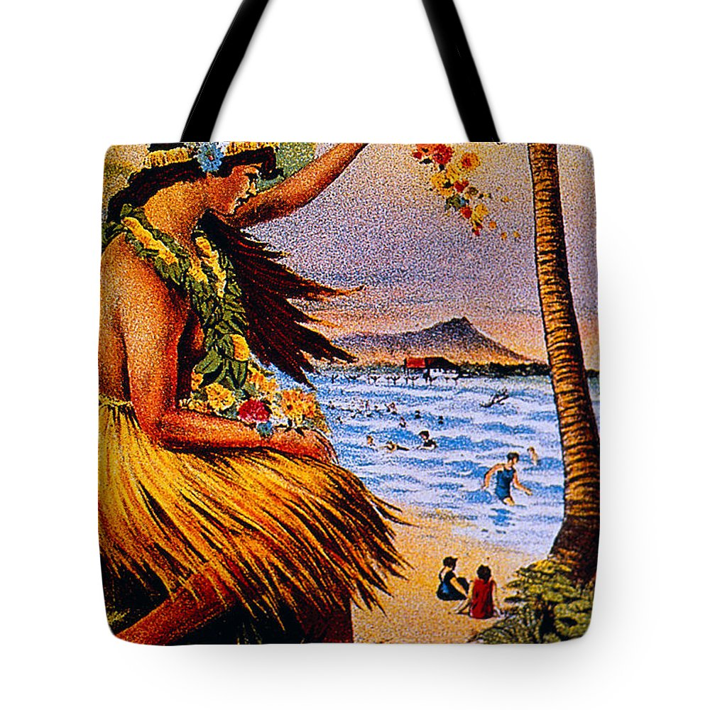 1915 Tote Bag featuring the painting Hula Flower Girl 1915 by Hawaiian Legacy Archive - Printscapes