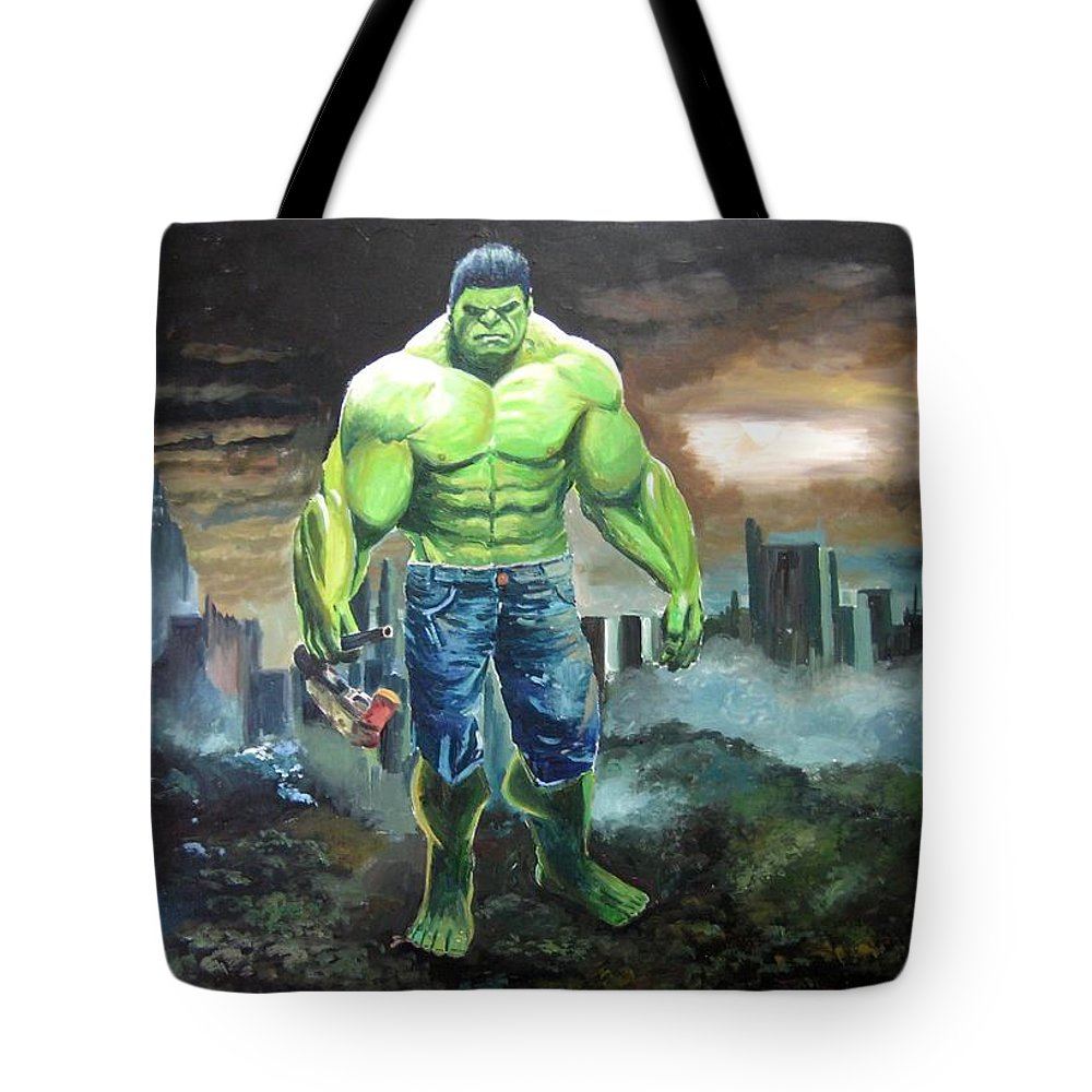 Tote Bag featuring the painting Hulk. Original Acrylic by Jose Camero Hernandez