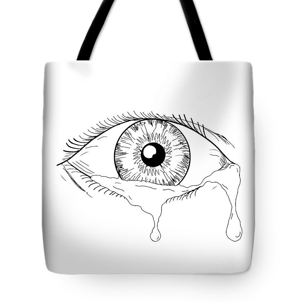 Drawing tote bag featuring the digital art human eye crying tears flowing drawing by aloysius patrimonio