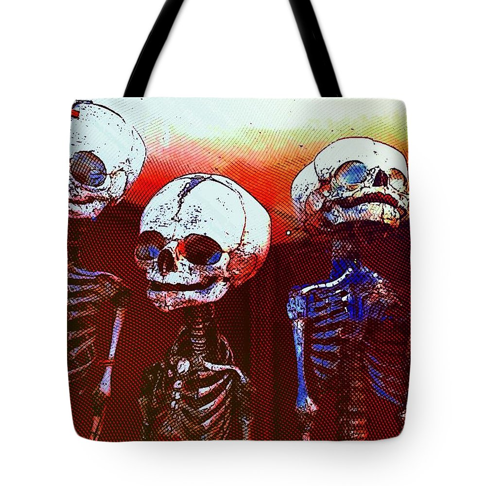 Skeleton Tote Bag featuring the photograph Humans by Helge