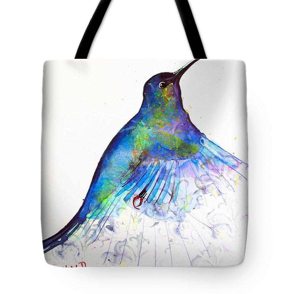 Hummingbird Tote Bag featuring the painting Hummingbird 11 by Violeta Damjanovic-Behrendt