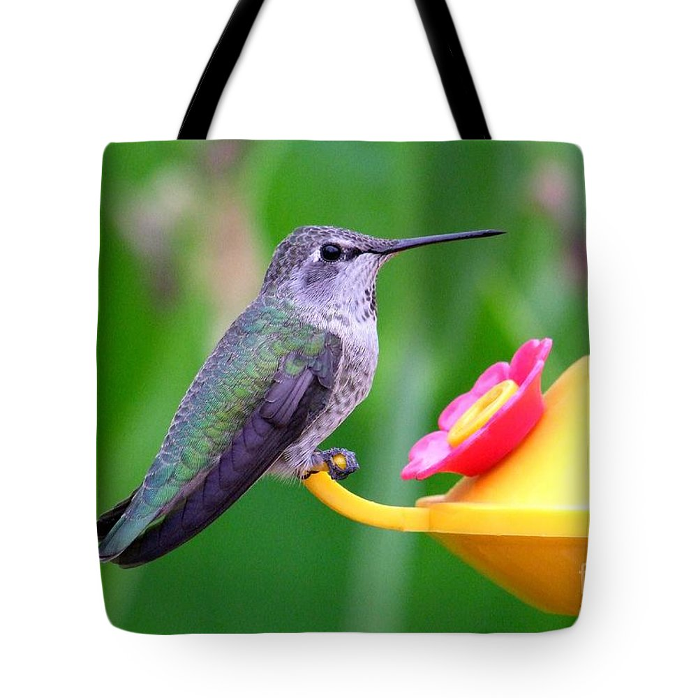 Green Tote Bag featuring the photograph Hummingbird 32 by Mary Deal