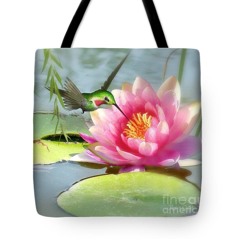 Hummingbird Tote Bag featuring the mixed media Hummingbird And Water Lily by Morag Bates