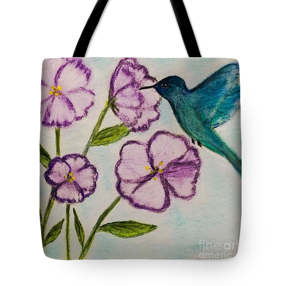 Drawing Tote Bag featuring the drawing Hummingbird Blue by Sandra Dorton