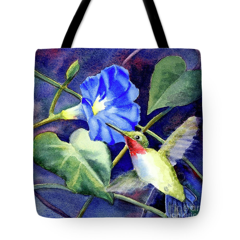 Hummingbird Tote Bag featuring the painting Hummingbird Delight by Bonnie Rinier