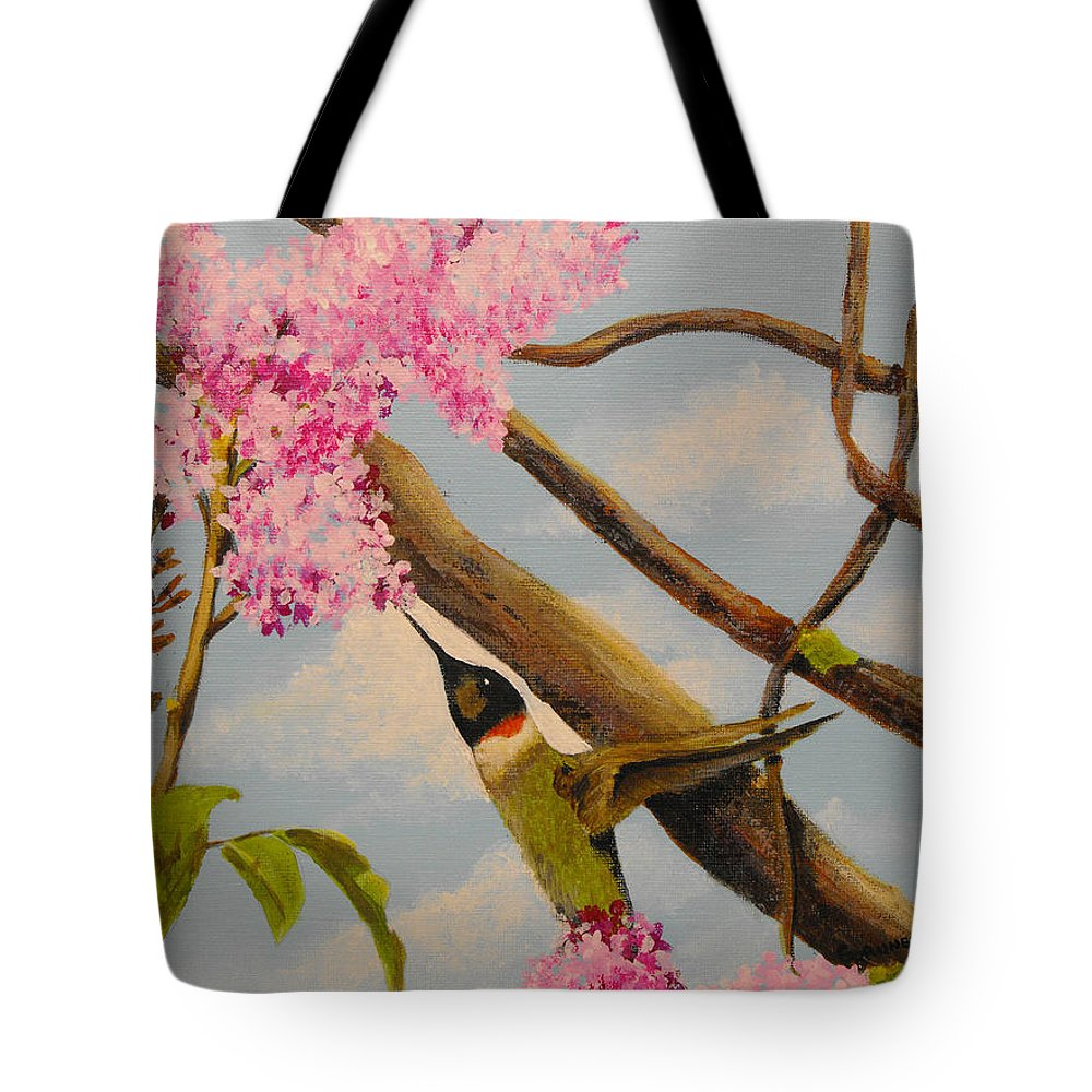 Nature Tote Bag featuring the painting Hummingbird Feeding On Lilac by Susan Bruner