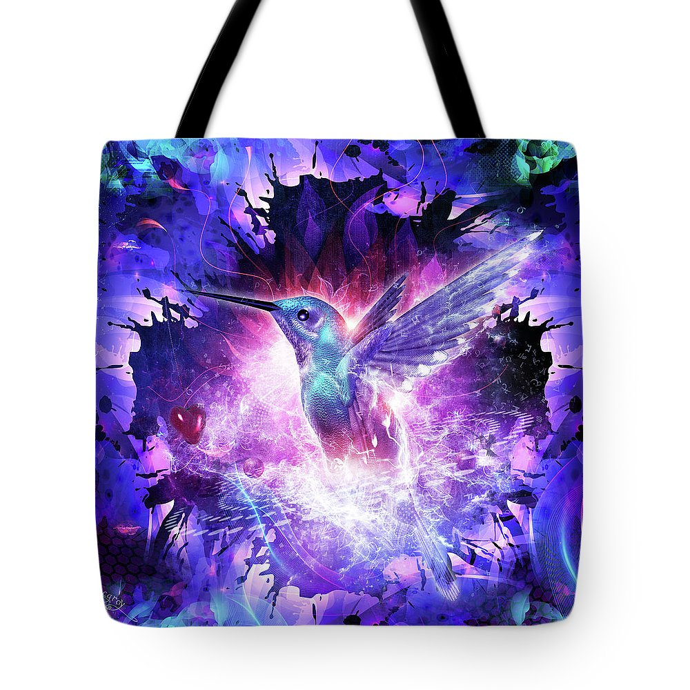 Cameron Gray Tote Bag featuring the digital art Hummingbird Love by Cameron Gray
