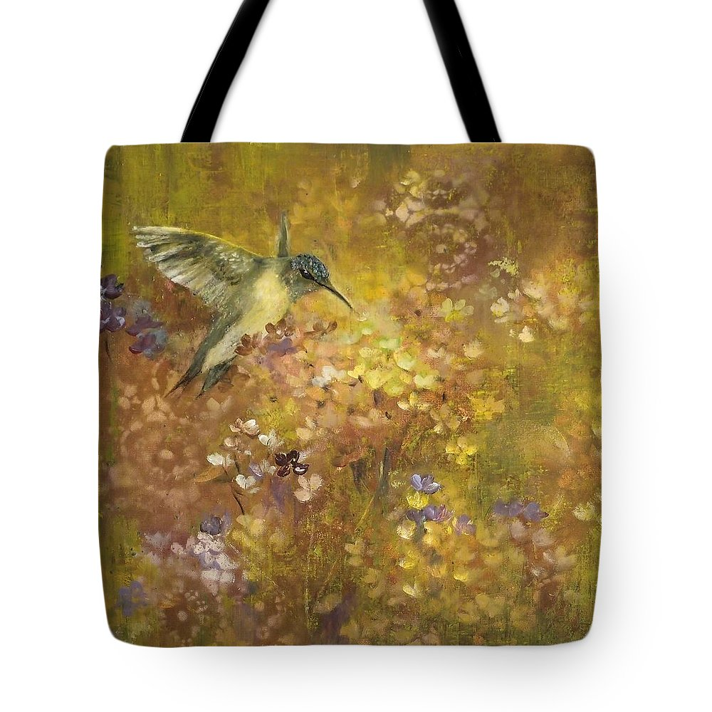 Hummer Tote Bag featuring the painting Hummingbird In Hydrangeas by Judy Osiowy
