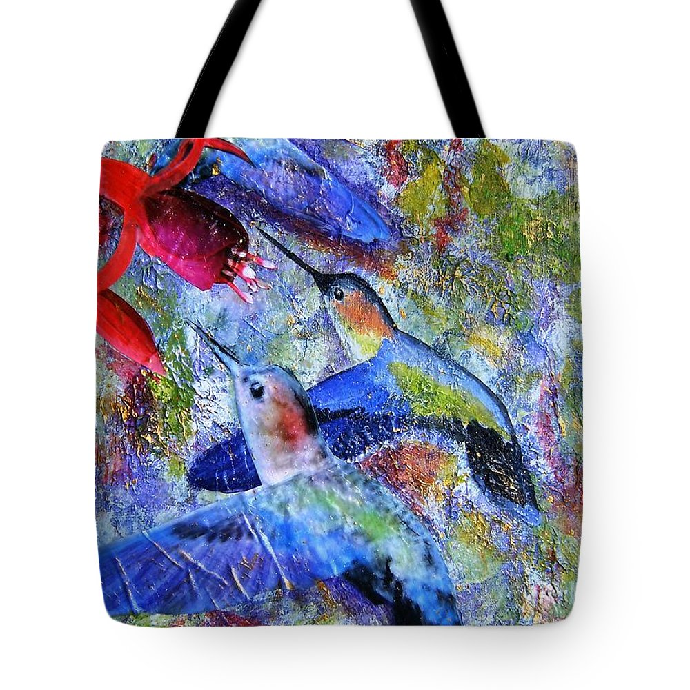 Humming Birds Tote Bag featuring the painting Hummingbird Joy by Tami Booher