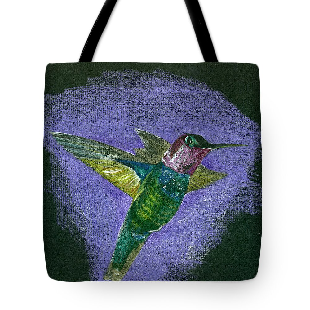 Bird Tote Bag featuring the drawing Hummingbird by Mary Tuomi