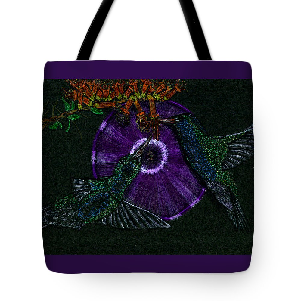 Humming Bird Tote Bag featuring the drawing Hummingbird Morning Glory by Michelle Audas