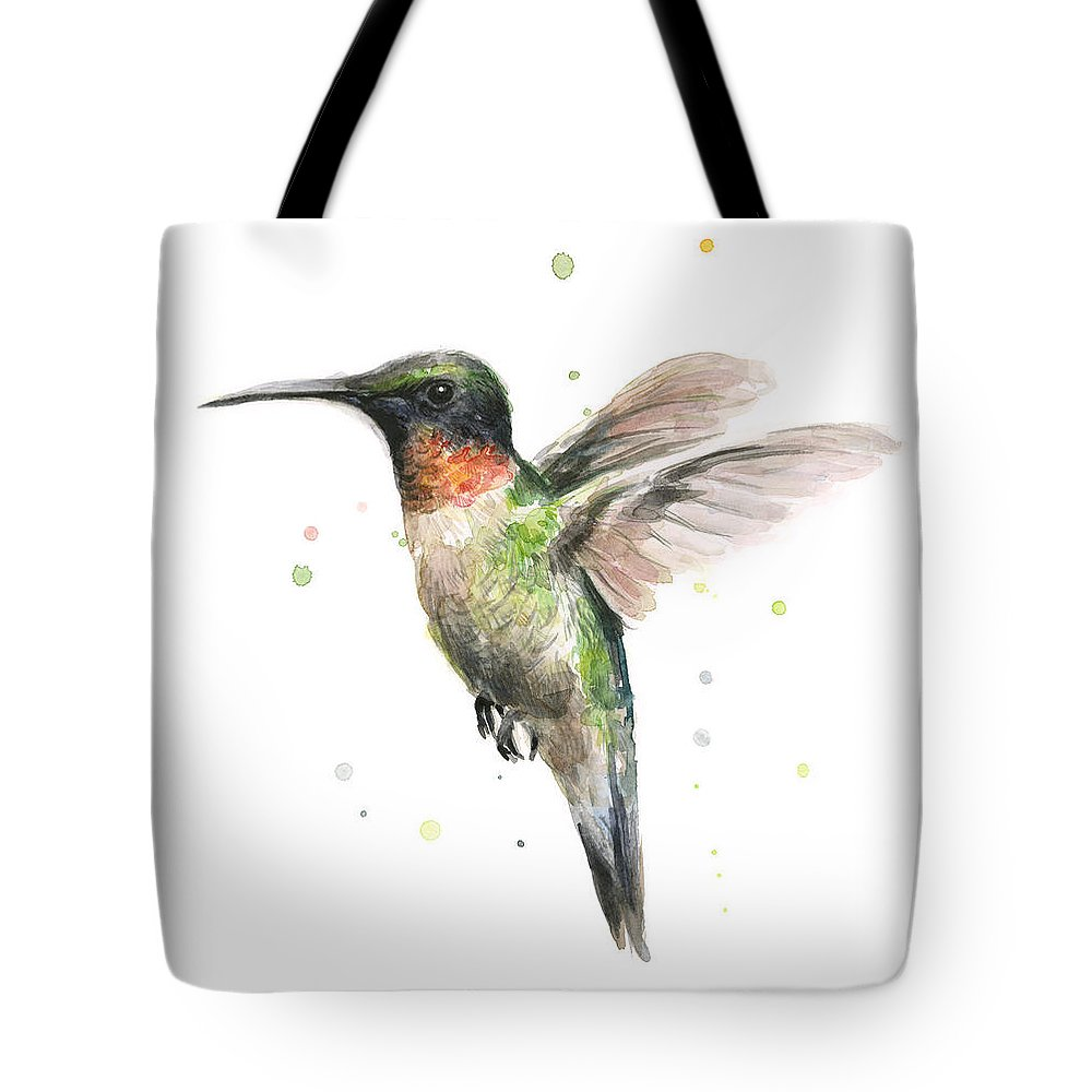 Animal Tote Bag featuring the painting Hummingbird by Olga Shvartsur