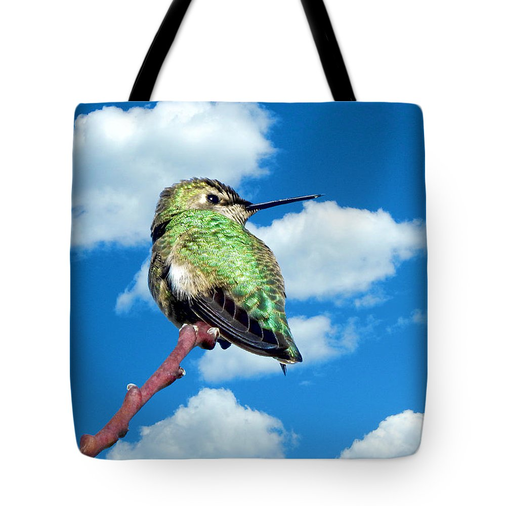 Animals Tote Bag featuring the photograph Hummingbird On High by Glen Faxon