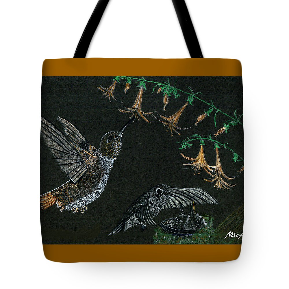 Humming Bird Tote Bag featuring the drawing Hummingbird Parents by Michelle Audas