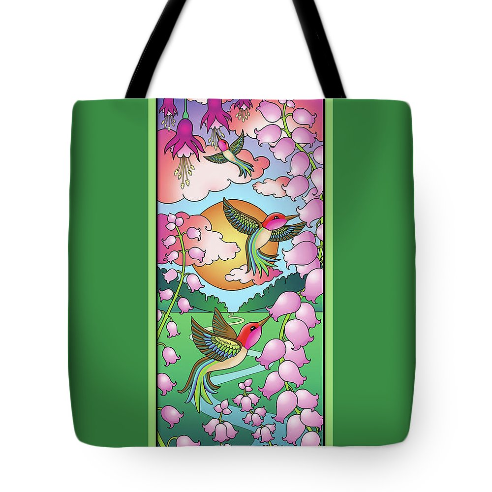 Hummingbirds Tote Bag featuring the digital art Hummingbird Sunrise by Eleanor Hofer