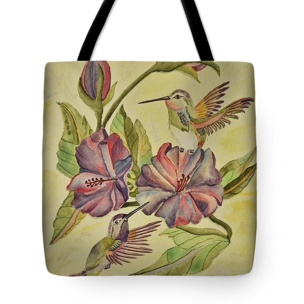 Linda Brody Tote Bag featuring the painting Hummingbirds And Hibiscus by Linda Brody