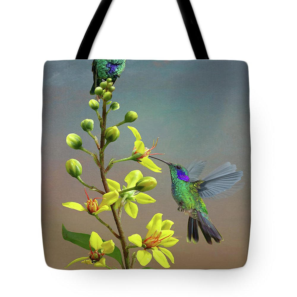 Birds Tote Bag featuring the digital art Hummingbirds And Thryallis by Spadecaller