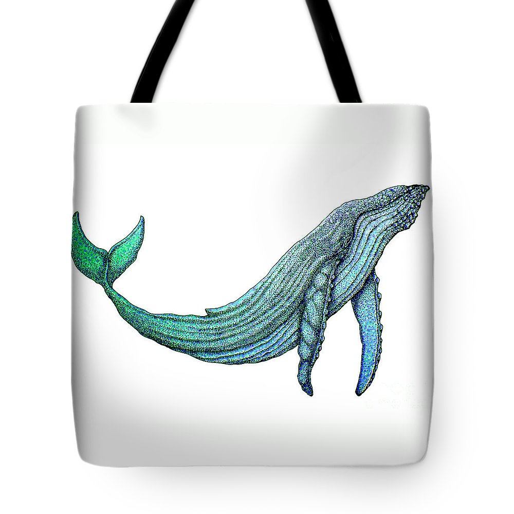 Humpback Whale Tote Bag featuring the drawing Humpback Whale by Nick Gustafson