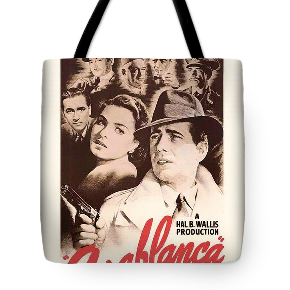 Movie Tote Bag featuring the mixed media Humphrey Bogard And Ingrid Bergman In Casablanca 1942 by Mountain Dreams