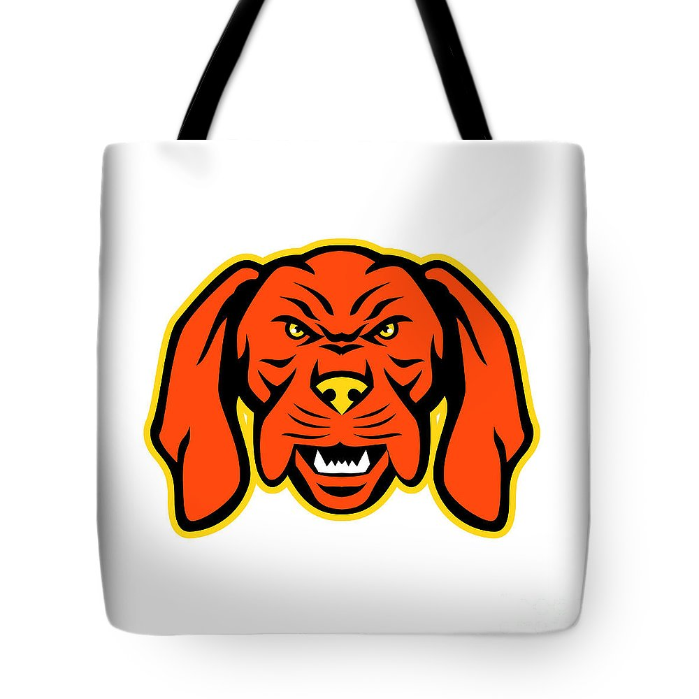 Mascot Tote Bag featuring the digital art Hungarian Vizsla Dog Mascot Angry by Aloysius Patrimonio