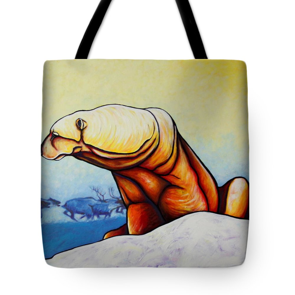 Wildlife Tote Bag featuring the painting Hunger Burns - Polar Bear And Caribou by Joe Triano
