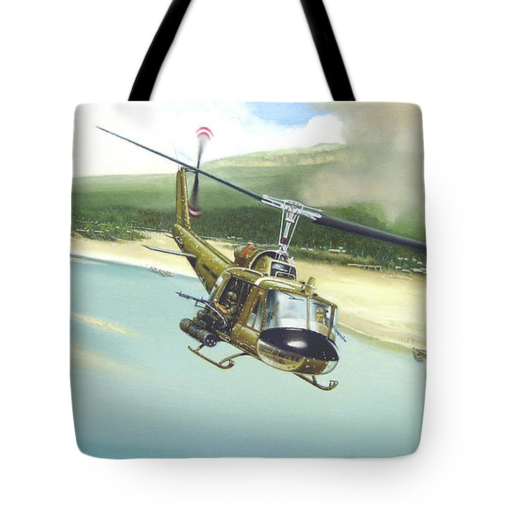 Military Tote Bag featuring the painting Hunter Hueys by Marc Stewart