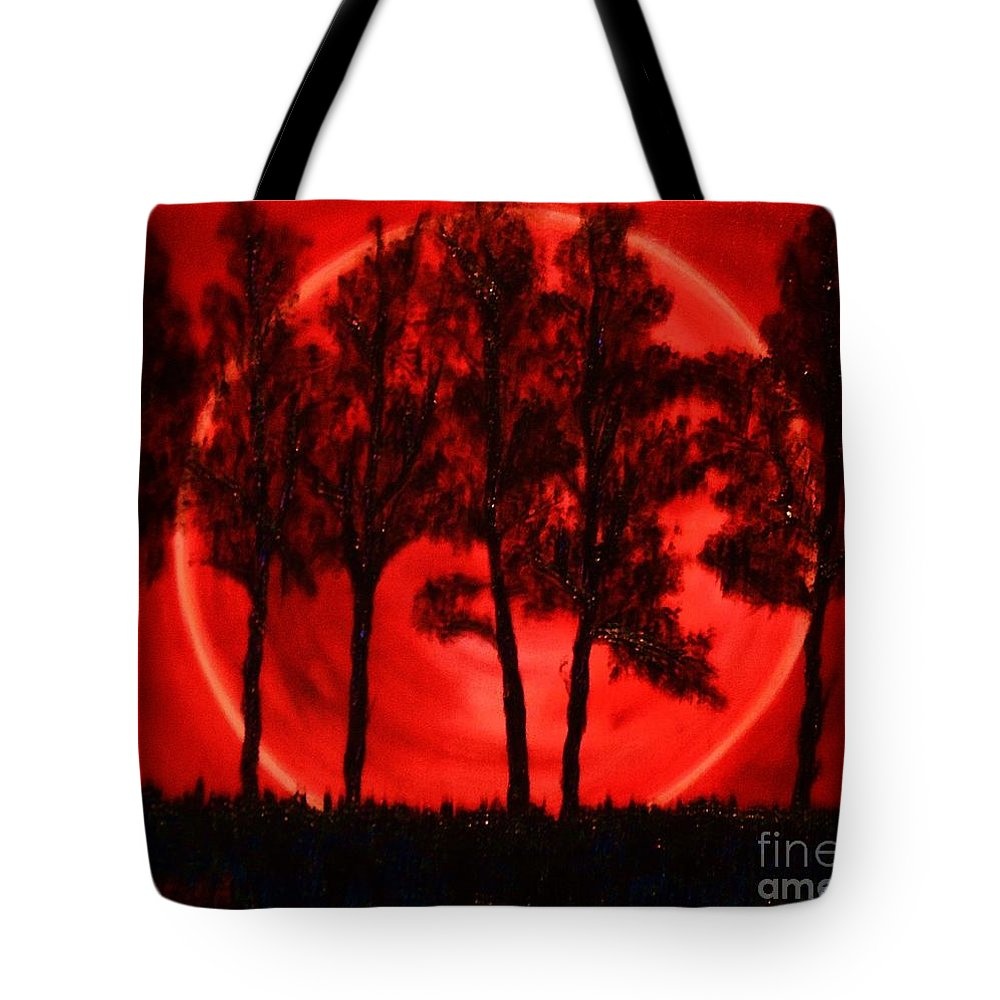 Landscape Tote Bag featuring the painting Hunters Moon by Lori Jacobus-Crawford