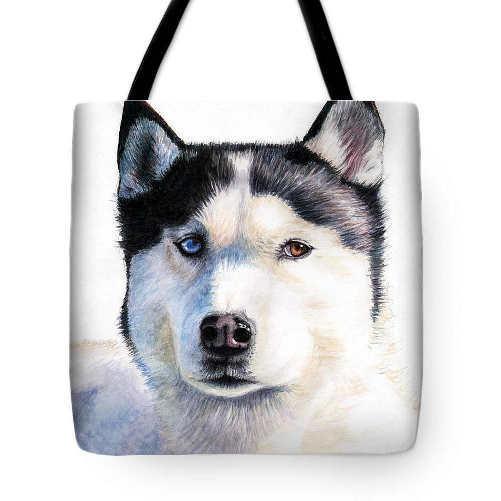 Dog Tote Bag featuring the painting Husky Blue by Nicole Zeug
