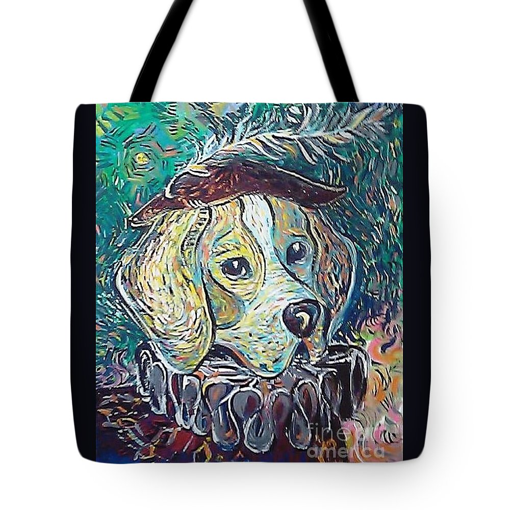 Dog Tote Bag featuring the painting Hutch Vom Schloss Altenau by Raluca Nedelcu